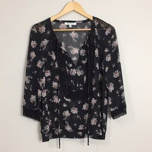 [Black Rainn] Sheer Floral Blouse
